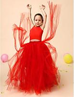 Galajurk Vloer Lengte Bloemenmeisje jurk - Satijn/Tule Mouwloos
