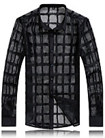Men's Long Sleeve Shirt , Lace Casual / Work / Formal / Plus Sizes Plaids & Checks / Pure