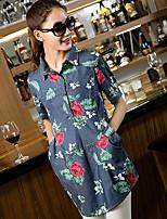 Women's Casual Micro-elastic Short Sleeve Long Shirt (Cotton)