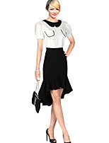 Women's Sexy Casual Party Plus Sizes Micro-elastic Medium Knee-length Skirts (Spandex)