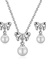 T&C Women's 18K White Gold Plated Cute Bowknot Simulated Pearl Beads Party Pendants Necklaces Earrings Set