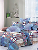 Reactive Printing Tribute Silk 4Pcs Bedding Sets, Include Duvet Cover Bed Sheet Pillowcase,King  Size-Plaid
