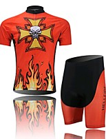Flame Skull Short Sleeved Suit Riding, Moisture Cycling Wear, Motor Function Material