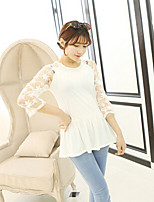 Women's White Blouse , Round Neck Long Sleeve Hollow Out