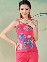 Women's Red/White/Black Vest , Strap Sleeveless Embroidery