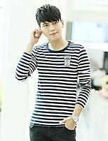 Han&Chloe®Men's Round Neck Striped Long-Sleeved T-Shirt
