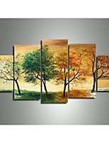 Hand-painted Modern Landscape  4 Season Tree Pictures Oil Paintings on Canvas 5pcs/set No Frame