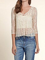 Women's Solid/Lace White T-shirt , V Neck ¾ Sleeve Lace