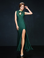 Homecoming Cocktail Party Dress - Dark Green Trumpet/Mermaid High Neck Ankle-length Lace/Charmeuse
