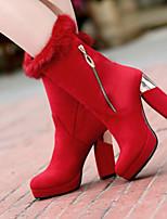 Women's Shoes Fleece Chunky Heel Round Toe Boots Dress Black/Red
