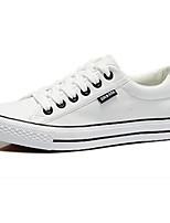 Zapatos de mujer Tela Tacón Plano Punta Redonda Sneakers a la Moda Casual Negro/Blanco