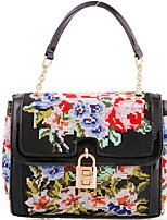 Voeevodd® 2015 Women's Leather Colorful Cross Embroidery Totes Casual/Fashion/Popular Shoulder Bag Floral Pillow Bag