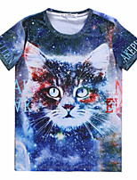 European Style TEE Digital Printing 3D T-shirt Star Cat Harajuku Sleeved T-shirt