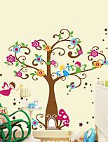 stickers muraux de style de décalques muraux de bande dessinée arbre fleur de PVC autocollants