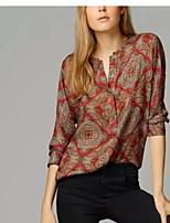 Women's Casual Print Micro elastic Long Sleeve Regular Shirt