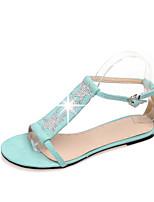 Chaussures Femme Similicuir Talon Plat Bout Ouvert Sandales Extérieure/Bureau & Travail/Décontracté Multi-couleur