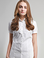 JAMES Summer Women's Solid  White Short Sleeve Shirt/ Blouse Business Casual Fashion
