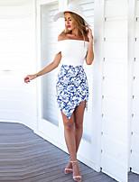 xiw&F Women's Bodycon/Casual/Print  Asymmetrical Skirts
