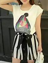 Women's Character White/Black T-shirt , Round Neck Short Sleeve