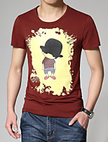 Men's Fashion Cartoon Print Slim Short Sleeved T-Shirts