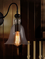 Retro Wall Light with Floral Glass Shade and Metal Bracket