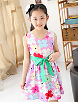 Girl's Summer Floral Sleeveless Dresses (Cotton Blends)