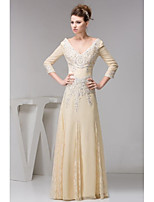 Mother of the Bride Dress Floor-length 3/4 Length Sleeve Chiffon and Lace A-line Dress