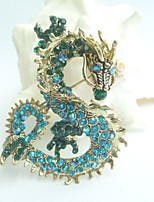 Women Accessories Gold-tone Turquoise Green Rhinestone Crystal Dragon Brooch Art Deco Crystal Brooch Pin
