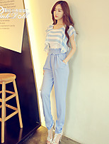 Pink Doll®Women's Round Neck Casual Striped Loose Suits