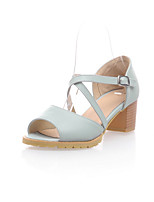 Women's Shoes Leatherette Chunky Heel Peep Toe/Platform Sandals Office & Career/Dress/Casual Blue/White