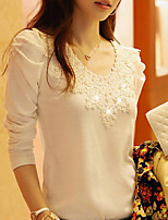 Women's Summer Party/Work Micro-elastic Long Sleeve Lace Pearl Regular Blouse (Cotton/Others/Spandex)