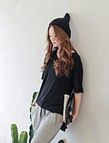 Damen T-Shirt  -  Gespleisst Baumwolle/Elasthan Kurzarm Rundhalsausschnitt
