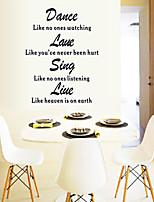 stickers muraux style de danse mur de décalcomanies laue chanter suis vivant mots anglais&cite muraux PVC autocollants