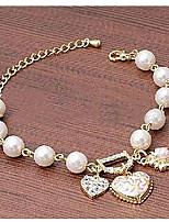 Heart Pendant Pearl Chain Bracelet