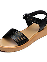 Women's Shoes Faux Leather Wedge Heel Wedges/Peep Toe Sandals Dress Black/White