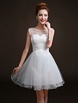 Short/Mini Tulle Bridesmaid Dress - White A-line Jewel
