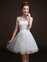 Brautjungfernkleid - Weiß Tülle - A-Linie - mini - Juwel-Ausschnitt