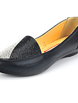 Women's Shoes Fabric Flat Heel Comfort/Round Toe/Closed Toe Loafers Outdoor/Office & Career/Casual Black/Gold