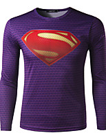 Herren Freizeit T-Shirt  -  Druck Lang Baumwollmischung