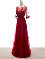Formal Evening Dress - Burgundy Sheath/Column Bateau Floor-length Lace/Tulle