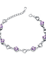 Jazlyn® Authentic Platinum Plated 925 Sterling Silver Woman Heart Purple Cubic Zirconia Link Bracelet