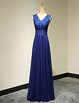 Formal Evening Dress A-line V-neck Floor-length Chiffon Dress