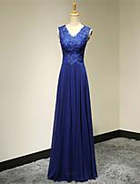 저녁 정장파티 드레스 - 로얄 블루 A라인 바닥 길이 V넥 쉬폰
