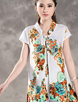 Women's Print Blue/Yellow Shirt , Stand Short Sleeve Bow