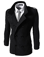 What lees Men's Casual Pure Long Sleeve Regular Trench coat