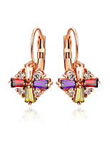 T&C Women's Luxurious Multicolour Crystal Rhombus Shape Drop Earrings 18K Rose Gold Plated Bridal Party Jewelry
