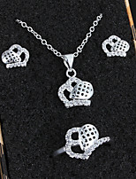Women Cute/Party/Casual Silver Plated Necklace/Earrings/Ring Jewelry Sets