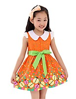 Girl's Summer Sleeveless Doll Collar Bow Belt Printing Floral Sundress (Cotton Blends)