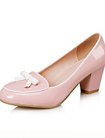 Women's Shoes Patent Leather Chunky Heel Round Toe Pumps Dress More Colors available