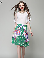 Women's Print Green Skirts , Sexy/Casual Knee-length
